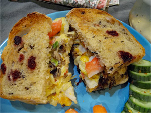 wild rice and crab sandwich