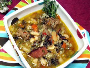 Colorful and hearty wild rice soup with whole grains and rice.