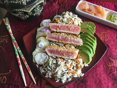 Tuna and Autumn Harvest Wild Rice Plate