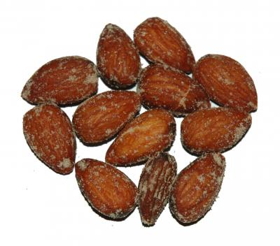 Hickory Smoked Almonds have a delicate smoky flavor